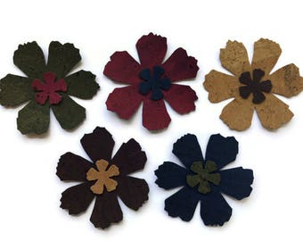 Beautiful Cork Fabric Die Cut, Sew on Flower Applique for Needlecraft and Sewing Projects, Two Sizes & 5 Colours Available