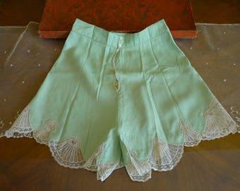 1920 Lingerie, mint green, antique lingerie, antique negligee, antique panty, antique dessous, Panties, Bloomers