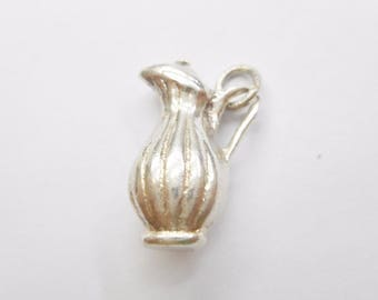 Vintage 950 Sterling Silver Pitcher with Handle Charm, Drink Container Charm, Gift for Her, Charm for Bracelet, Estate Jewelry, #3068
