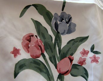 Vintage floral tulips cutwork hand printed lovely curtains