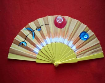Handpainted Vintage Fan Abstract
