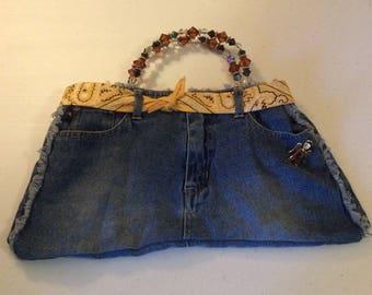 Denim purse with beaded handles. Shoulder or hand bag.