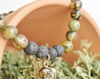 Dragon Vein Agate Aromatherapy Bracelet with Black Lava Diffusing Beads, Gold Druzy with Gold Chain Tassel 7""