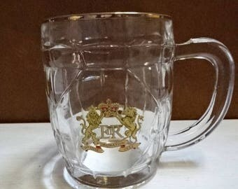 Thick Pressed Glass Half Pint Tankard/Coronation of Queen Elizabeth II 1953/Royal Souvenir/Collectable/Vintage