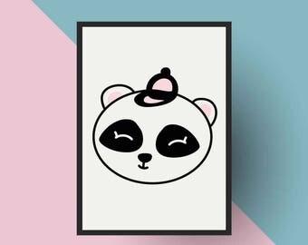 Nordic Print | PRINTABLE Scandinavian Panda- Nursery art