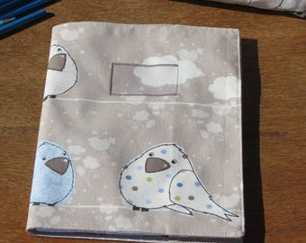 """Back to school"" notebook cover small size cotton bird print"