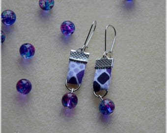 Fabric earrings African wax violet purple tones