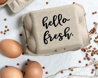 Egg Carton Stamp - Hello Fresh -  Egg Carton Label - Egg Stamp - Custom Egg Carton - Fresh Eggs - Chickens