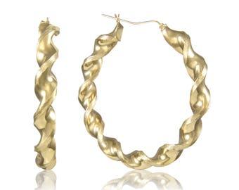 10K Yellow Gold Round Twisted Hoop Earrings 8.0mm 70-100mm - Swirl Twist