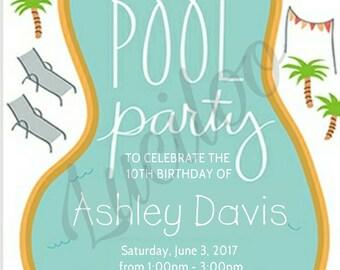 Pool Party Invitation. DIGITAL DOWNLOAD