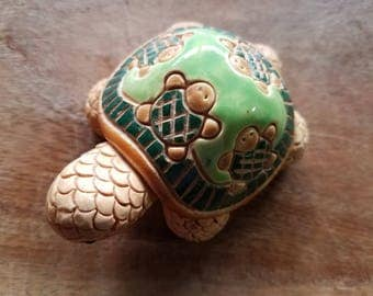 Handmade Ceramic Turtle by Artesania Rinconada, Made in Uruguay, Artesania Rinconada, Ceramic Turtles, Turtle Figurine, Vintage Figurines