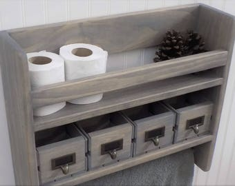 Bathroom Shelf with Towel Bar / Rustic / Tall