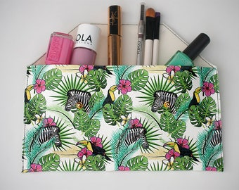 Make up organizer vegan leather  - Makeup Bag tropical - jungle - Wristlets Clutch toucan- Passport Wallet zebra - Cosmetic bag tropical.