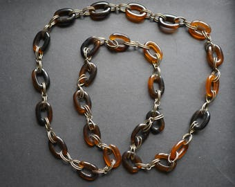 Vintage brown faux tortoiseshell plastic and metal chain necklace