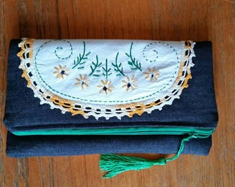 Fold over denim zipper pouch with vintage salvaged embroidery