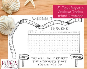 Workout Tracker PRINTABLE Planner Inserts • Fitness Planner • Workout Planner • Workout Journal • Fitness Tracker • Bullet Journal, Filofax