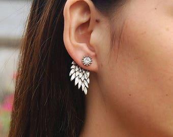 Romantic Earring Rhinestone ANGEL WINGS Stud Earrings BEAUTIFUL Gold Silver  3x1.5 cm