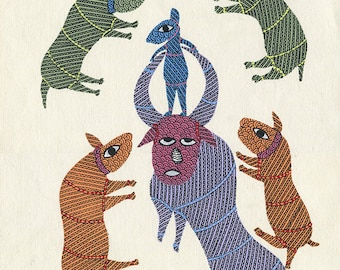 Ox, Gond Artwork, Original Acrylic