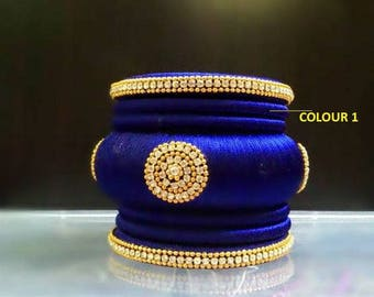 righnstone,pearls,silk thread wrapped bangles,traditional bangles,bangle set