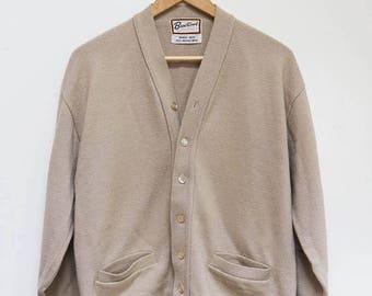 ON SALE Vintage Merino Wool Sweater Cardigan Brentwood Beige Size L / Grandpa Sweater / Grandpa Cardigan / Elbow Patches