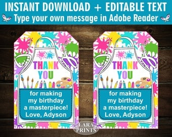 INSTANT DOWNLOAD / edit yourself now / Printable / Treat Bag toppers / Favor Tags / Birthday Party / Paint / Art / Party / tag / FTPaint1