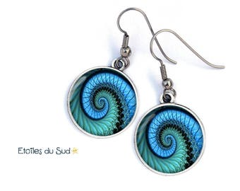 Spiral earrings, blue, silver, surgical hooks, ref.7 resin cabochon