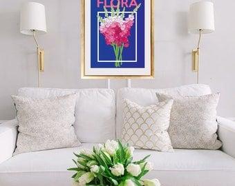 Navy Flora Print