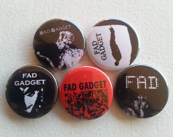 "5 x Fad Gadget 1"" Pin Button Badges ( avant-garde electronic new wave industrial music )"