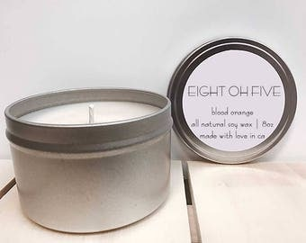 Blood Orange - All Natural Soy Candle - 8oz Travel Tin