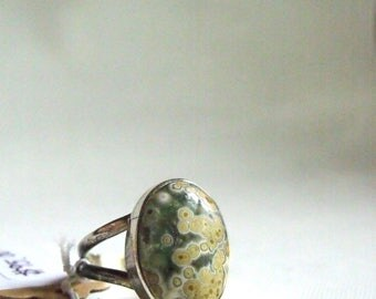 All Natural Ocean Jasper • solid sterling SILVER • Graphic • Ring • Size 7. B8035