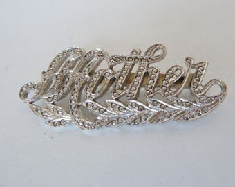 Mother brooch in Marcasite ? silver tone script writing/Mother's Day Gift/pin/kid gift to mom/child gift to Mother
