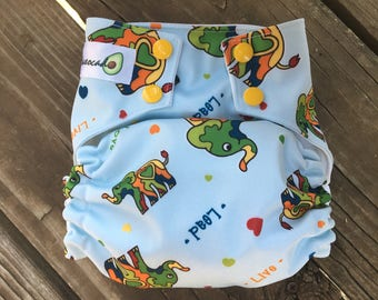 One Size OMMO Cloth Diaper Elephants