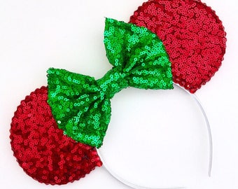 The Full Sequin (Red) - Handmade Christmas Inspired Mouse Ears Headband