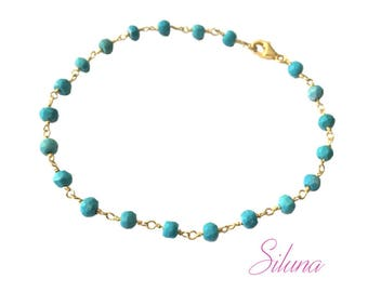 Turquoise chain bracelet Rosary in vermeil (sterling silver 925 gold plated)