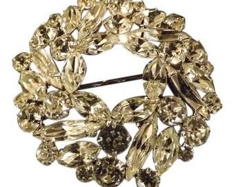 Vintage Signed Weiss Rhinestone wreath Brooch