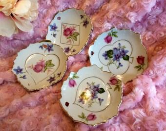 Set of four (4) Lefton china trinket or nut dishes/ashtray