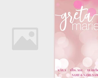 Pink Sparkles Birth Announcement