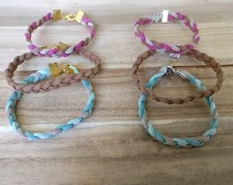 Bracelet braided, bracelet suedelace, yoga bracelet