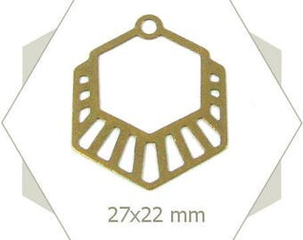 8 hexagons charms striped bronze BB213