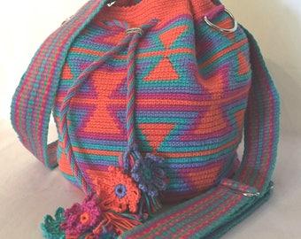 Happy Backpack (mochila) Convertible bag / Handmade Crochet / Shoulder / Crossbody / Orange / Pink / Teal / Purple / Lined / Gift Idea