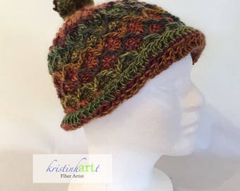 Child's Diamond patterned hat w/pom pom / Handmade Crochet / Child Size / Children's Gift Idea /  Multi Colored / Warm