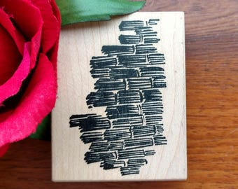 Background Rubber Stamper by Stampa Rosa, Tin Can Mail, F59-407, Basket Weave Background, Brush Stroke Stamp