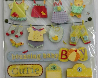 Bouncing Baby Boy Scrapbook Stickers from K&Company, Boy Clothesline, Grand Adhesions Dimensional Stickers, Brenda Walton