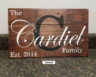 Last Name Wood Sign, Wedding Gift Sign, Pallet Last Name Sign, Rustic Sign, Established Date Family Sign,