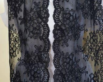"""1.5 meters * 16cm lace """"Calais"""" black stripe REF 1445"""