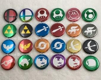 Nintendo / Smash Bros Metallic Button Pin
