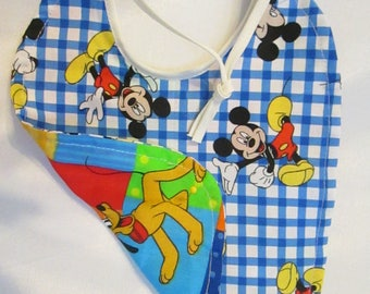 Mickie Mouse Pluto Blue and White Checkered Reversible Patchwork Baby Bib