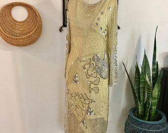 1980s - Vintage beaded Gown - Silk - Fabrice Dress - Sequins