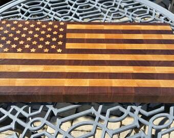 SLICE OF FREEDOM  American Flag end grain cutting board / butcher block / July 4th