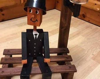 WOODEN FLOWERPOT man,woman,police, on a bench,garden ornament,gift,flowerpot men,